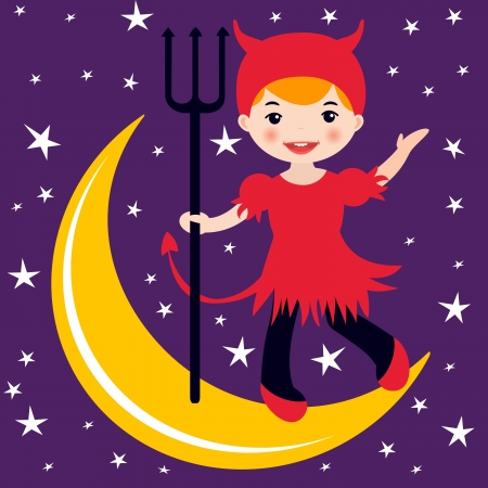An illustration of a cute little devil dancing on the moon Stock Vector - 14973186