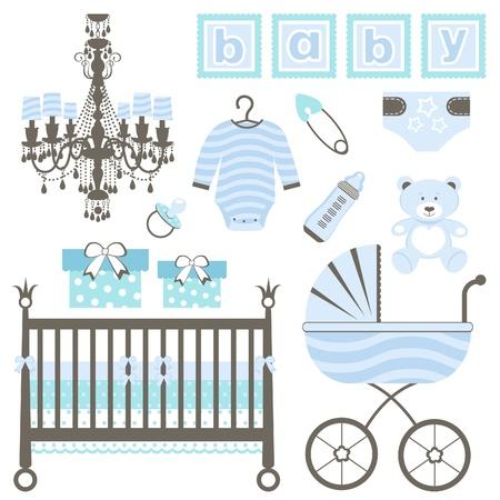babero: Un beb� elegante conjunto ni�o Vectores