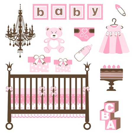 An elegant baby girl set Vector