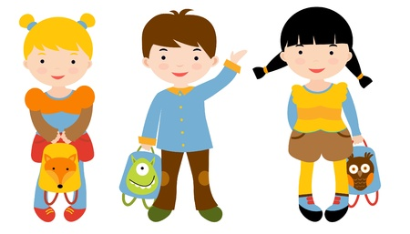 little boy cartoon: A group of cute children with backpacks ready to get back to school Illustration