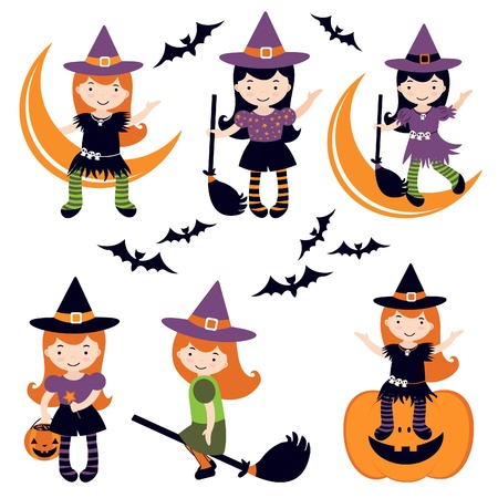 An illustration of cute little witches  Vector