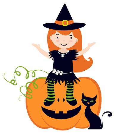 An illustration of cute little witch sitting on pumpkin Vector