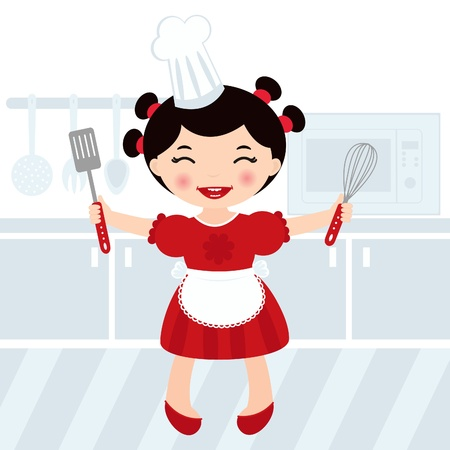An illustration of a little girl cooking in a kitchen Stock Vector - 15491386