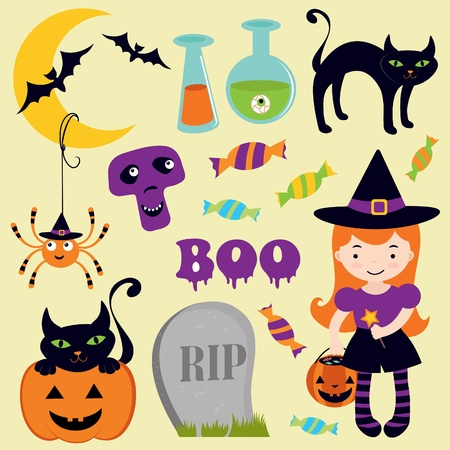 A Cute halloween icons collection Vector