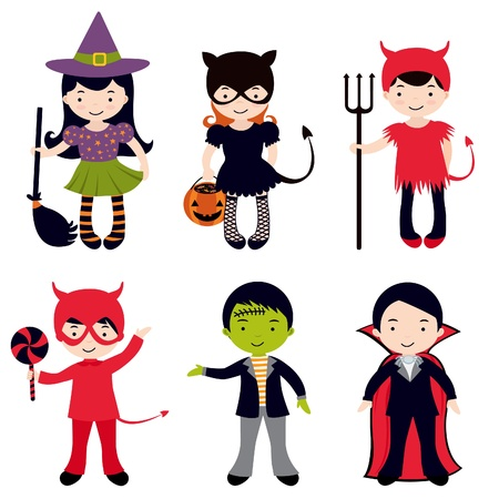 An illustration of Cute Halloween kids Vector