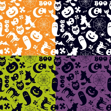 spiders: Halloween seamless pattern in four different color versions