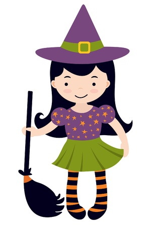 An illustration of little witch character Vector