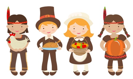 A group of kids - Indians and Piligrims - sharing food for Thanksgiving Vector