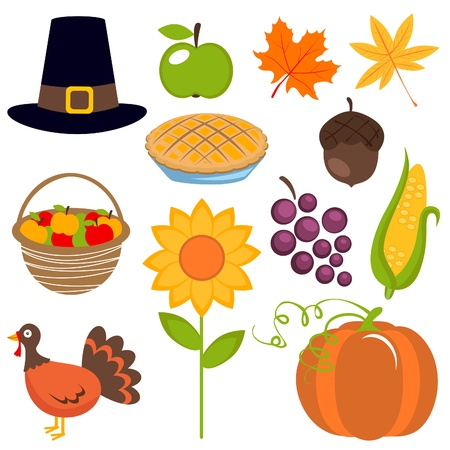 calabaza caricatura: Un conjunto colorido de iconos de Acción de Gracias