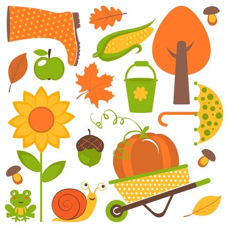 schubkarre: Eine bunte Herbst Set