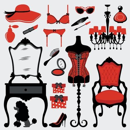 kleedkamer: Chick boudoir accessoires Stock Illustratie