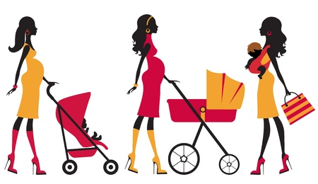 stroller: An illustration of young beautiful moms