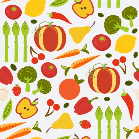 A colorful fruit and vegetables seamless background Vector