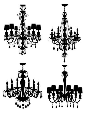 ceiling design: colecci�n de elegantes l�mparas de ara�a Vectores