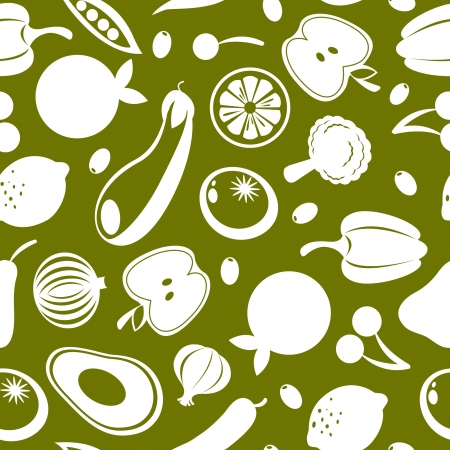 A seamless pattern made of fruit and vegetables