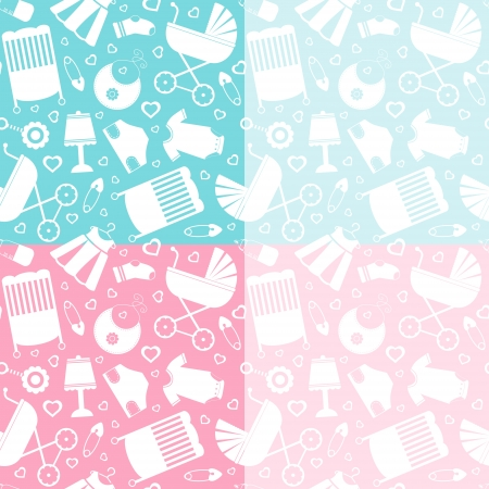 A cute babycare icons pattern Vector