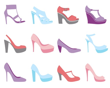 heeled: A colorful summer shoes fashion collection Illustration