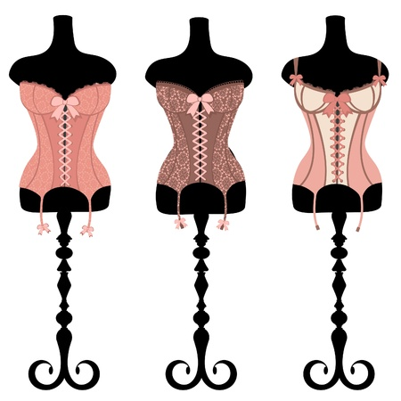 An illustration of three vintage corsets