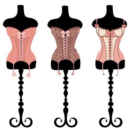 Une illustration de trois corsets d'époque