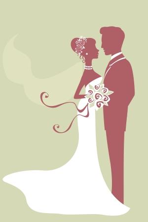 recien casados: Una ilustración de la hermosa novia y el novio recién casado Vectores