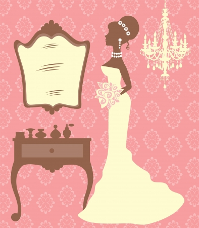 An illustration of beautiful bride in dressing room Vector
