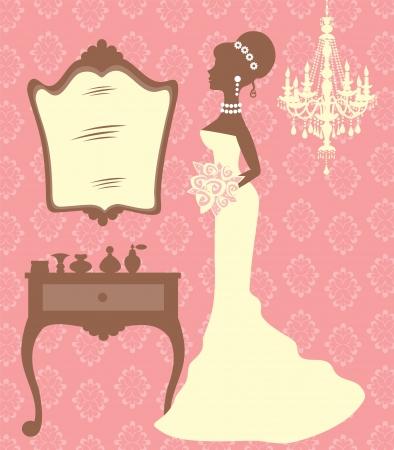 kleedkamer: Een illustratie van mooie bruid in kleedkamer