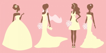 bridal veil: An illustration of brides in different style dresses