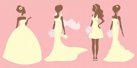 Een illustratie van bruiden in verschillende stijl jurken Vector Illustratie