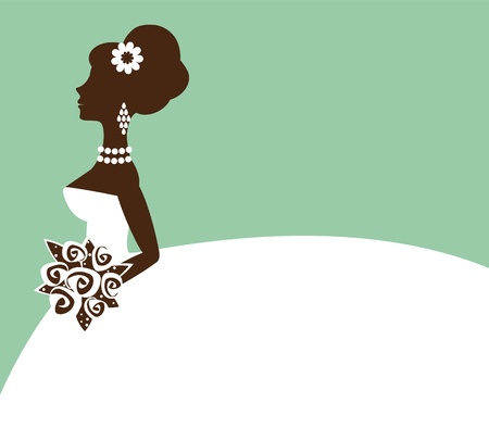 bridal shower: An illustration of  a beautiful bride