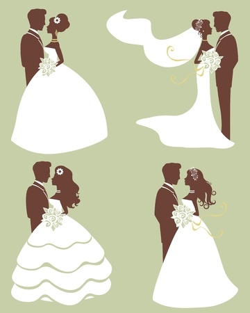 cartoon bouquet: Four wedding couples in silhouette