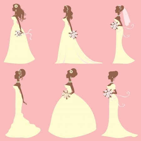 A cute collection of different style brides Vector