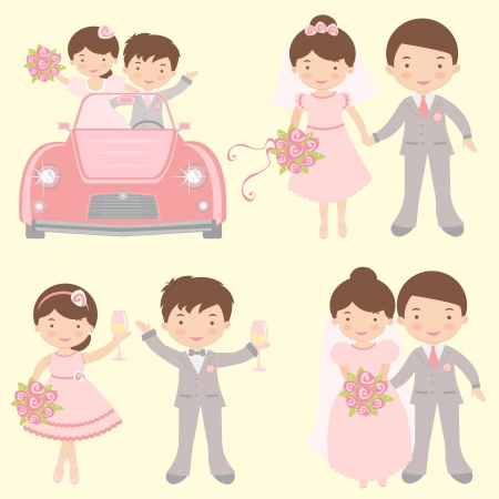 A cute collection of couples getting married Vector