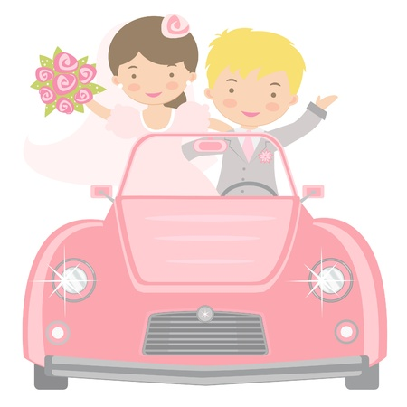 An illustration of cute bride and groom driving to honeymoon