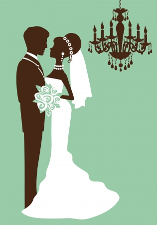Bride and groom just married silhouettes Vector