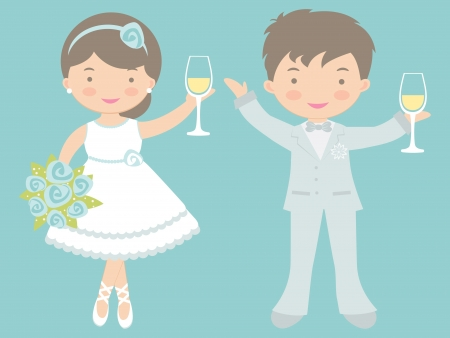An illustration of cute bride and groom celebrating with champagne Vector