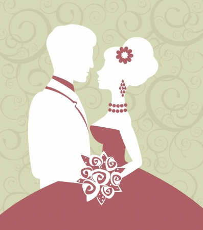 bride and groom background: An illustration of bride and groom in love