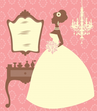 bridal gown: An illustration of an elegant bride in her dressing room