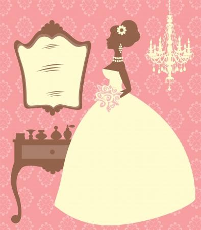 kleedkamer: Een illustratie van een elegante bruid in haar kleedkamer Stock Illustratie