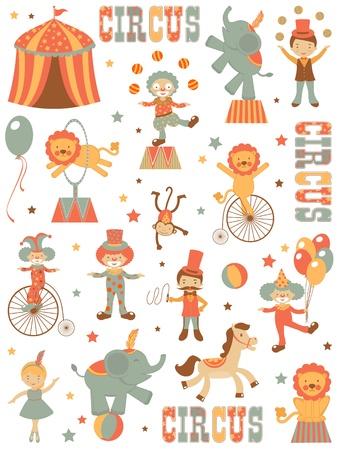 clown cirque: A cirque coloré éléments mis en Illustration