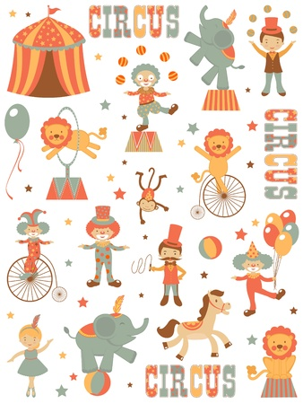 circus clown: A colorful circus elements set Illustration
