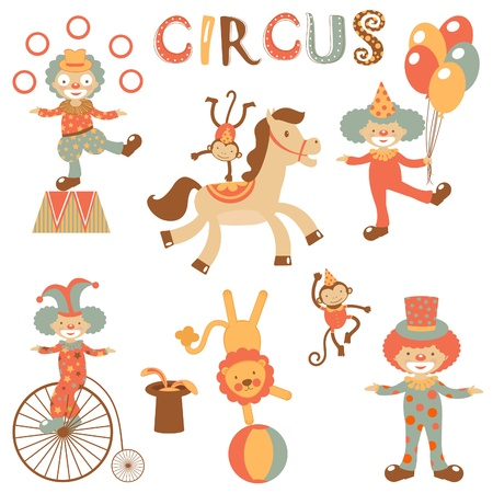 An illustration of cute circus icons Vector