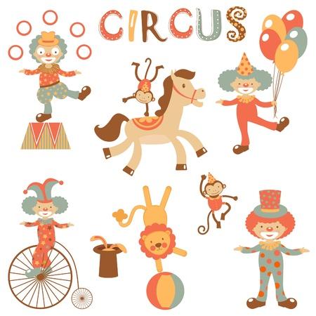 juggling: Una ilustraci�n de iconos lindos del circo Vectores