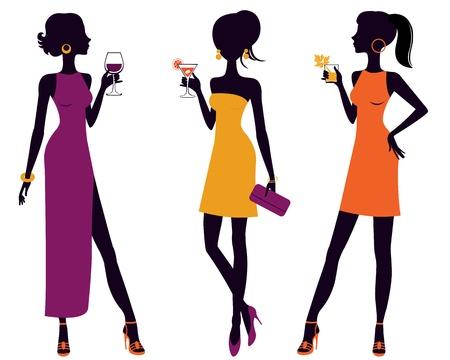 Eine Illustration von drei cocktail party Frauen