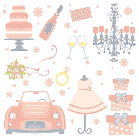 A cute collection of bridal shower icons Vector