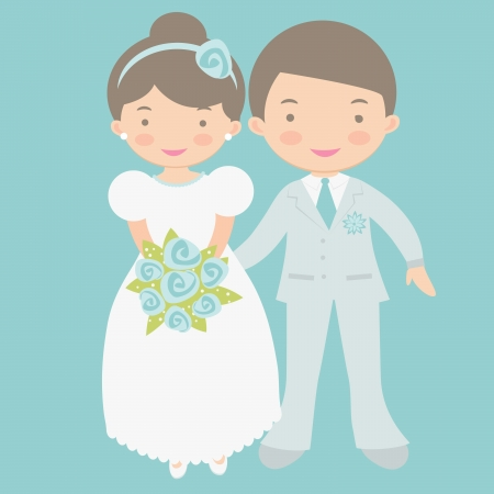 An illustration of happy bride and groom holding hands Vector