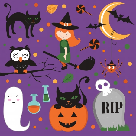 Cute Halloween icons set Vector