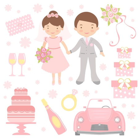 cartoon wedding couple: An illustration of cute wedding icons Illustration