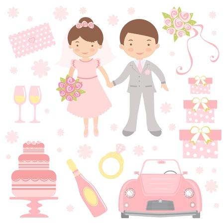 design design elemnt: An illustration of cute wedding icons Illustration