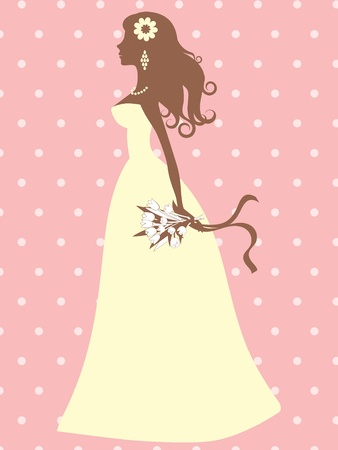 An illustration of an elegant bride silhouette Vector