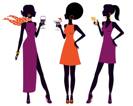 cocktail dress: An illustration of pretty women having cocktail party